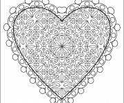 Free coloring and drawings Complex love heart Coloring page