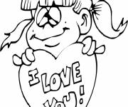Free coloring and drawings Girl expresses love Coloring page