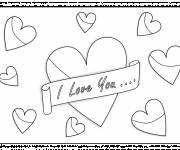 Free coloring and drawings I Love You and Hearts everywhere Coloring page
