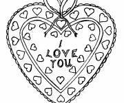 Free coloring and drawings I Love You in A Decorated Heart Coloring page