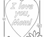 Free coloring and drawings I Love You Mom Coloring page