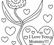 Free coloring and drawings I love you mom with flower Coloring page