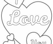 Free coloring and drawings I Love You Online to cut out Coloring page