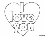 Free coloring and drawings I Love You simple Coloring page