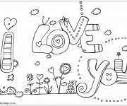 Free coloring and drawings I Love You stylized Coloring page