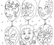 Coloring pages Italian masks