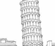 Coloring pages Italy The Pisa tower to download