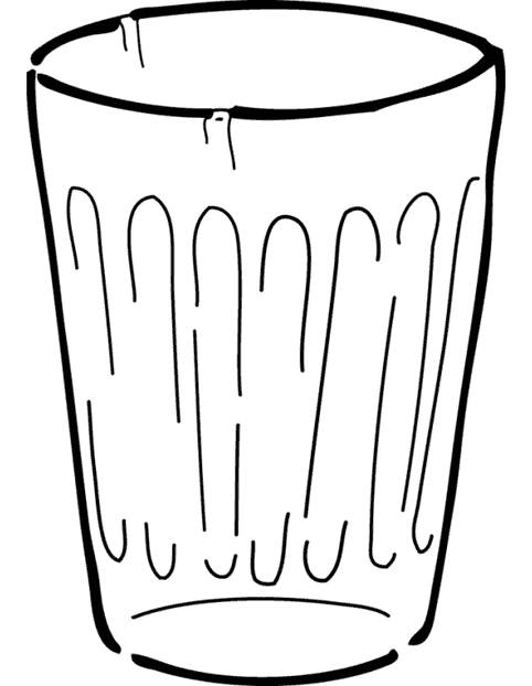 Free coloring and drawings A glass of water Coloring page