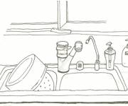 Coloring pages Kitchen Basin