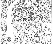 Coloring pages Klimt Owls on The Tree