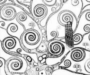 Coloring pages Klimt tree for coloring