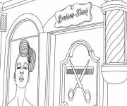 Free coloring and drawings Barber hairdresser Coloring page