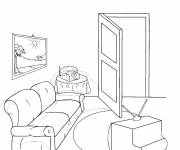 Free coloring and drawings Color living room Coloring page