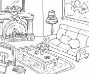 Free coloring and drawings Furnished living room Coloring page