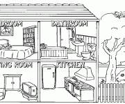 Free coloring and drawings House interior Coloring page