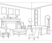 Free coloring and drawings Modern living room Coloring page