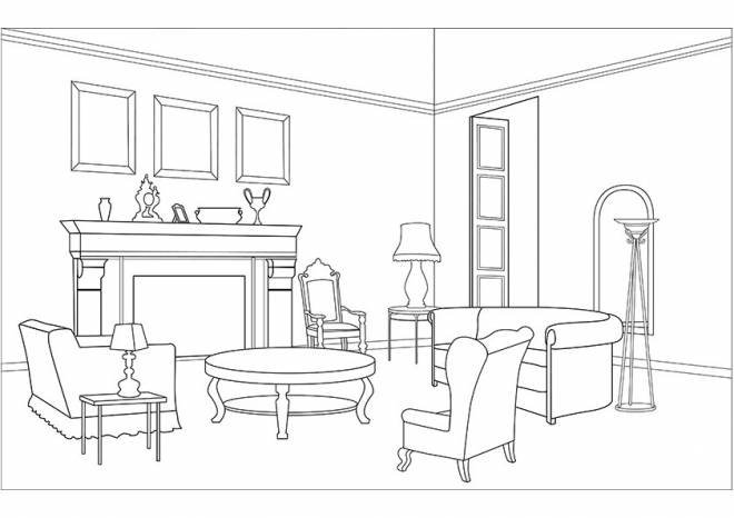 Free printable Living room coloring pages