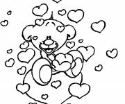 Free coloring and drawings Cute Bear and Love Hearts Coloring page