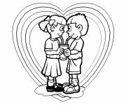 Free coloring and drawings Love between children Coloring page