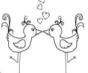 Free coloring and drawings Love Birds Coloring page