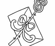 Coloring pages Love letter with loop
