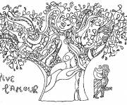 Free coloring and drawings Lovers under the tree Coloring page