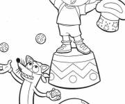 Coloring pages Dora Magician of circus