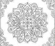 Coloring pages Difficult mandala  of a flower for adults
