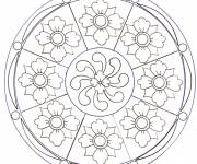 Coloring pages Mozaic Flowers Mandala