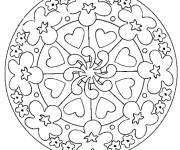 Coloring pages Flowers and Hearts Mandala
