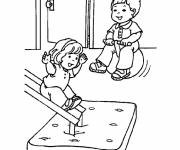 Free coloring and drawings Children have fun Kindergarten Coloring page