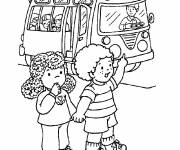 Coloring pages Kindergarten school bus for free