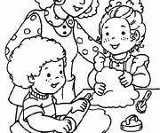 Coloring pages Mom and Daughters in the Kitchen