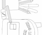 Coloring pages School equipment to cut