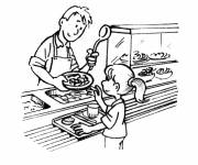 Coloring pages Canteen meal at school