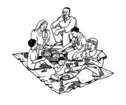 Coloring pages Meals and African Family
