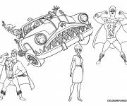 Coloring pages Megamind and Nanny in the invisible car