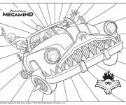 Coloring pages Megamind on her magic car