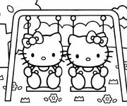 Coloring pages Hello Kitty and her friend