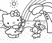 Coloring pages Hello kitty at hawaii beach