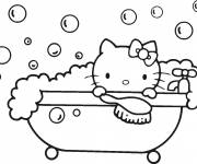 Coloring pages Hello Kitty bathes