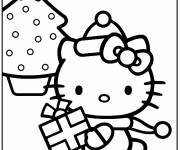 Coloring pages Hello Kitty Christmas coloring