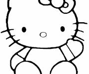 Coloring pages Hello Kitty easy to color
