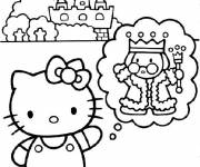 Coloring pages Hello Kitty has a dream