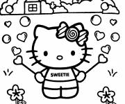 Coloring pages Hello Kitty in the garden