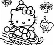 Coloring pages Hello Kitty plays on the snow