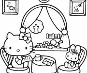 Coloring pages Hello Kitty reads a letter