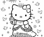 Coloring pages Hello Kitty's birthday