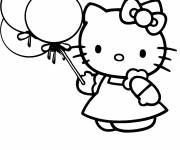 Coloring pages Kitty is holding balloons