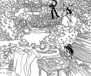 Free coloring and drawings Monet Garden Painting Coloring page